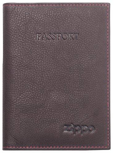 Zippo Billetera para Pasaporte de Cuero para Hombre, 14 cm, Color marrón
