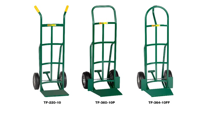 10 Solid Rubber Tire Wheel 800 lbs Capacity Little Giant TF-370-10 Tall Hand Truck with Foot Kick and Wheel Guards 60 Height