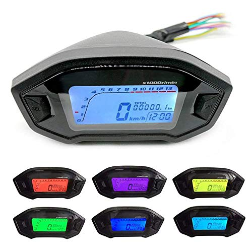 GZLMMY Velocímetro digital LCD universal para motocicleta, cuentakilómetros con retroiluminación para motocicleta, 2,4 cilindros, 1300r/min (negro)