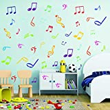 BUCKOO Musical Note Wall Decals Music Sign Letter Quote Wall Stickers,DIY Removable Vinyl Wall Decal for Classroom Recording Studio Home Decor