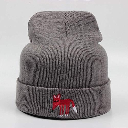 Chapeau Bonnet Broderie Little Fox Bonnet Outdoor Chaud de Ski d'hiver for Enfants Cap Beanies (Color : Light Gray)