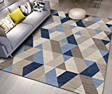 GJXY Geométrica Moderno Dormitorio de Estar Fuera de Yoga Pelo Corto Alfombras la decoración del hogar IKEA, Triángulo Beige Deslizamiento Suave de poliéster Antideslizante fácil de Limpiar,180×280CM