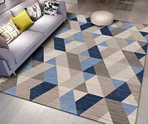 Geométrica Moderno dormitorio de estar fuera de yoga pelo corto Alfombras la decoración del hogar Ikea, Triángulo Beige deslizamiento suave de poliéster antideslizante fácil de limpiar,140*200CM