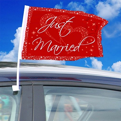 Folat Hochzeit Auto-Fahne Just Married Party-Deko rot-Weiss 40x30cm Ei