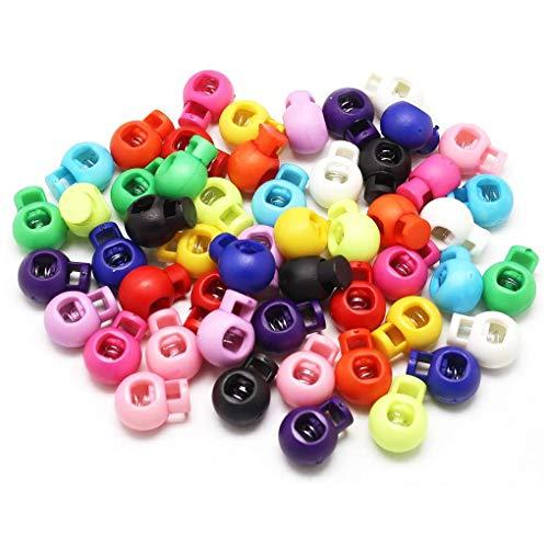 Vkospy - 50 piezas de cuerda de plástico, hebilla de un solo agujero en espiral, topes para cuerda de muelle, multicolor, redondos, topes para argolla, color aleatorio