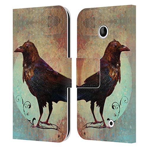 Head Case Designs Licenza Ufficiale Jena DellaGrottaglia Corvo Animali Cover in Pelle a Portafoglio Compatibile con Nokia Lumia 630