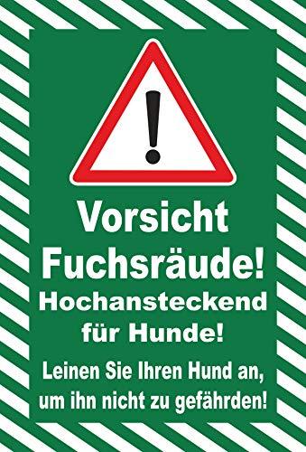 Schild 30x20cm Vorsicht Fuchs-räude - 3mm Aluverbund   Bohrlöcher - 20 Varianten