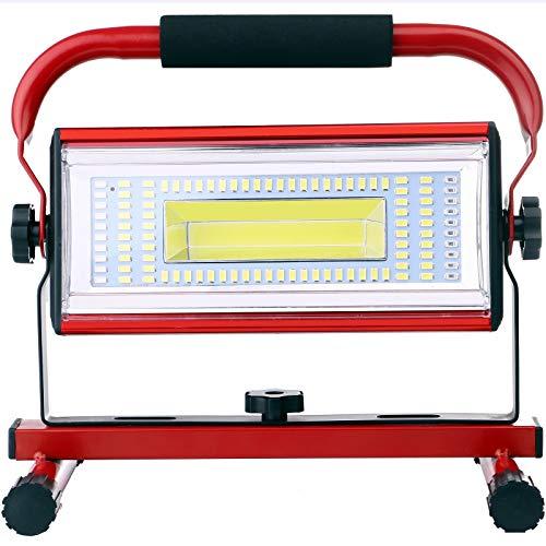 Luz de Trabajo LED Recargable, 100W Super Brillante Foco LED Trabajo Portátil Recargable USB para Jardín, Taller, Garaje, Camping, Obra, 6 Modos, Impermeable IP65 (Batería Incluida) (Rojo)