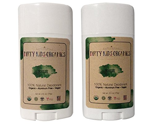 Certified Organic Kid's Deodorant Stick by Dirty Kids Organics - Vegan, Non-Toxic, Non-GMO, Aluminum Free Kids Natural Deodorant for Boys & Girls 24 Hour Kid Deodorant (Forest Scent, 2 Pack)