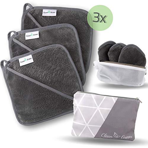 CLEAN GREEN Abschminkwunder - 3 Mikrofasertücher mit integriertem Handschuh inkl. Kulturbeutel + Waschnetz – Innovative Abschminktücher waschbar und wiederverwendbar für zu Hause und unterwegs