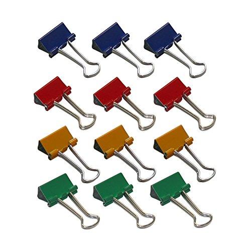 Wedo 6421451 Foldback klemmen, 12 stuks, gelakt metaal, afneembare beugel, sterke veer 19 mm gesorteerde kleuren