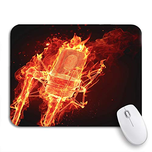 Adowyee Gaming Mouse Pad Orange Karaoke Fire Microphone Red Music Radio Station Night 9.5'x7.9' Nonslip Rubber Backing Computer Mousepad for Notebooks Mouse Mats