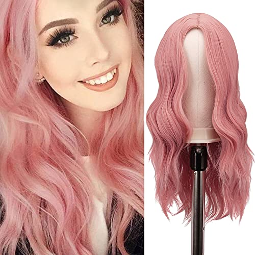FESHFEN Long Pink Wigs for Women 22 inch Curly Wave Full Wig Middle Parting Wigs Natural Looking Synthetic Wig Extensions for Daily Cosplay