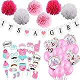 Besylo Gender Reveal Party, 46pcs Baby Shower Decorations,con pancarta de niño o niña, globo de...