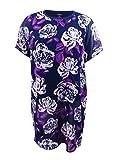 Alfani Womens Plus Floral Print Short Sleeves Tunic Top Navy 2X