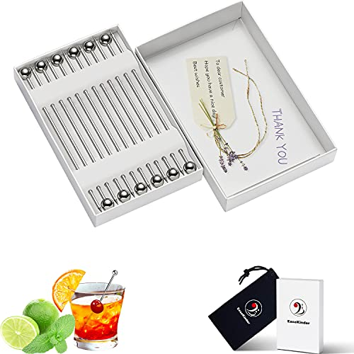 Cocktail Picks in Gift Box - Upgrade Stainless Steel Martini Olive...