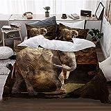 ZOANEN Bettwäsche - Bettwäscheset,Elefantenkalb San Diego Zootier Afrika,Multicolor Bettbezug Kissenbezug Set Winter neu,135 x 200cm