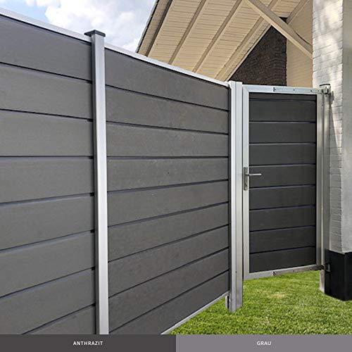 HORI® WPC Zauntor Design Alu Gartentor Tor 180x90 cm Zauntür Gartenzaun I Anthrazit