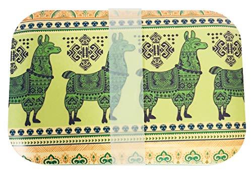 DON'T PLASTIC ME Nachhaltige Lunchbox aus Bambusfaser mit lustigen LAMA Motiven Grün