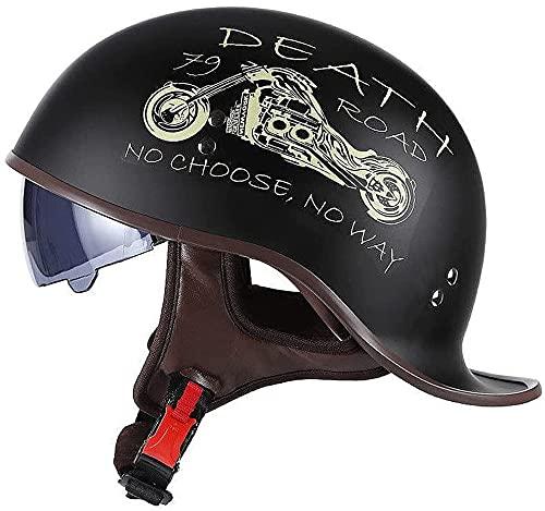 Cascos Half-Helmet Casco Moto Hombre Mujer Adulto Vintage Retro Abiertos Medio Huevo Semi Integral Cascos Con Aprobado DOT/ECE Jet Scooter Ciclomotor Casco Con Visera Parasol Retráctil ,A-L(59~60cm)