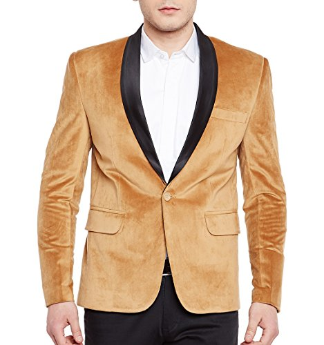 WINTAGE Men's Premium Velvet Notch Lapel Tuxedo Coat Blazer Jacket: Gold