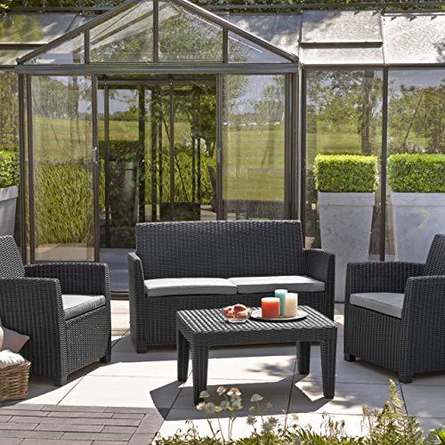 Keter Set di mobili da giardino 4 posti in rattan Allibert 4 pezzi salotto set divano sedie tavolo