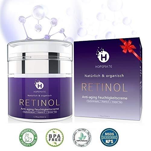 Retinol Feuchtigkeitscreme Creme, Anti-Aging & Anti Falten Creme von HOPEMATE für Gesicht & Augen, für Tag & Nacht, mit 2,5{7f5a763b934214d3471691cb93e2487ff917f5551976d7515634ff6ddbf94cce} Retinol + Hyaluronsäure + Vitamin E + Grüner Tee + Jojobaöl, 50ml