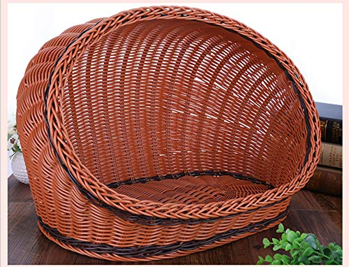 DUANQY Summer Rattan Pet Dog Kennel, Indoor Facile da Pulire Small Cat Bed, Four Seasons Available Traspirante Dog House,Brown,M