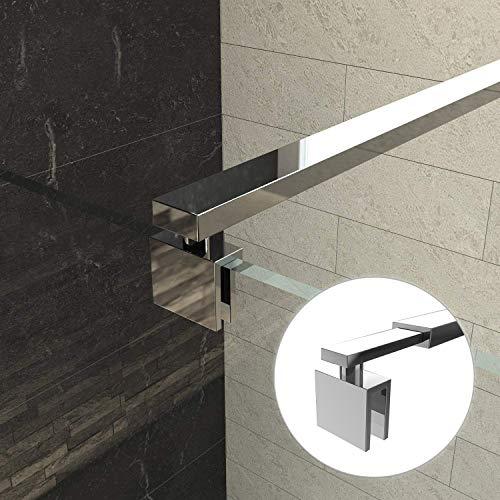 Bath-mann Stützstange Stabilisator für Duschwand Glas zur Wand für Glasdicke 8-10 mm Wandhalterung Edelstahl Einstelllänge 700-1200 mm