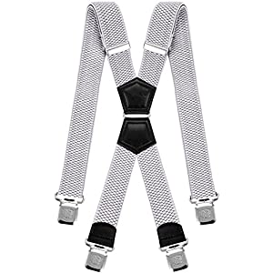 Mens Suspenders X Style Very Strong Clips Adjustable One Size Fits All Heavy Duty Braces