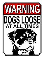 Warning Dogs Loose at all Times ティンサイン ポスター ン サイン プレート ブリキ看板 ホーム バーために
