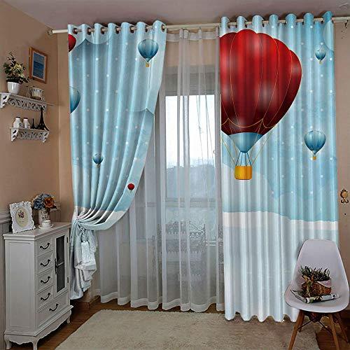 Gordijnen ondoorzichtig gordijn verduisteringsgordijnen met oogjes voor slaapkamer kinderkamer polyester isolatie gordijn thermogordijn set van 2 Red Hot Air Ballon romantiek 280cm Width x 180cm Drop