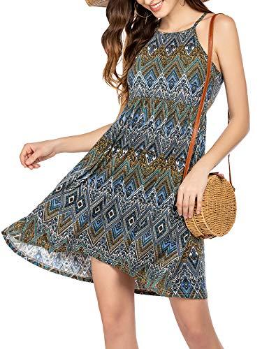 Unibelle zomerjurken dames V-hals spaghettidragers rugvrij bloemen strand jurken A-lijn avondjurk knielang
