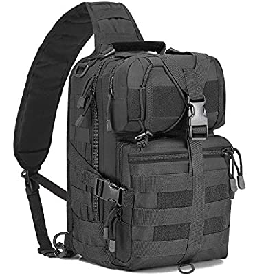 KOMEX Tactical Bag Sling Chest Pack Gear Molle Daypack Backpack iPad Mini Military Shoulder Bag Crossbody for Hunting Camping Trekking Travelling