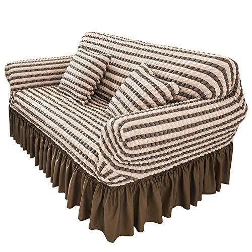 NOBCE Funda de sofá elástica Fundas elásticas Funda de sofá Todo Incluido para sofá de Diferentes Formas Funda de sofá Estilo L marrón 145-185CM