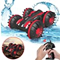 Gifts for 5-12 Year Old Boys Pussan Amphibious Remote Control Car for Kids and Adults 2.4 GHz RC Stunt Car for Boys Girls 4WD Off Road Monster Truck Gifts Remote Control Boat Summer Beach Toy SLC Red