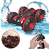 Toy Cars for 5-10 Year Old Boys Gifts Pussan Amphibious Remote Control Car for Kids and Adults 2.4 GHz RC Stunt Car for Boys Girls 4WD Off Road Monster Truck Gifts Remote Control Boat Beach Toy Red