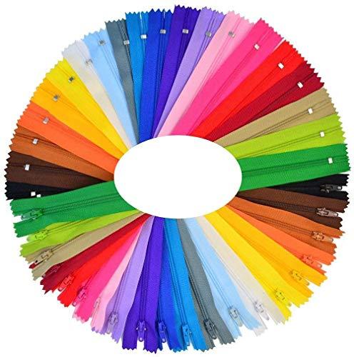 Reißverschluss,50 Stück Nylon Teilbarer Reißverschluss Plastik Zipper für Sewing Craft Kleidung Tasche Mäppchen Kissenbezug 25 Farben 23CM