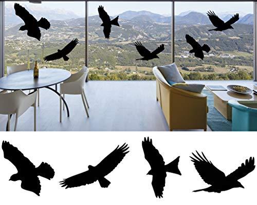 mural stickers Anti-Kollision Aufkleber für Fenster – Vogel-Vogel-Silhouette Fensteralarm Colision Vogelaufkleber Glastür Schutz Save Birds (7 verschiedene Aufkleber)