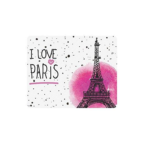 InterestPrint I Love Paris Eiffel Tower France Rectangle Non Slip Rubber Mousepad, Gaming Mouse Pad Mouse Mat