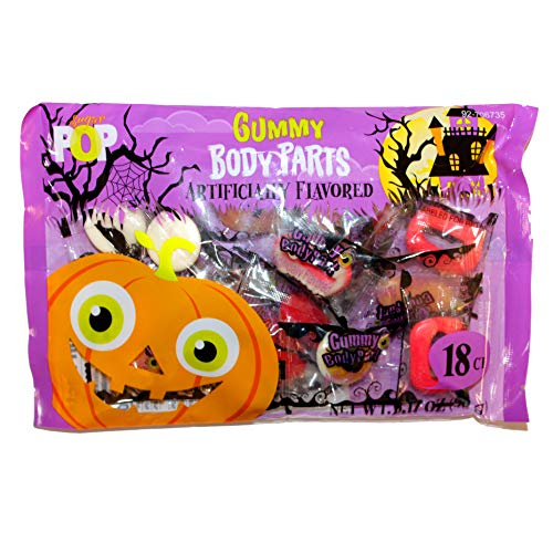 Sugar Pop (1) Bag Gummy Body Parts - 18 Individually Wrapped Pieces Halloween Candy - Assorted Shapes: Eyeballs, Teeth, Ears, Fingers - Net Wt. 3.17 oz