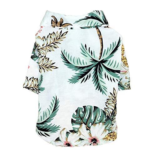 XYBB Ropa Perros Camisas De Perro Ropa Ropa Chaleco Mascota Ropa Floral Camiseta Hawaiana para M Blanco