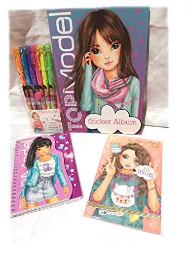 Depesche Top Model Set de Regalo 4 Piezas para niña Compuesto de Bordar álbum, Cuaderno de Pegatinas, bolígrafos de Gel, Cuaderno