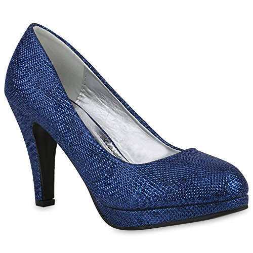 Klassische Damen Schuhe Pumps Stiletto High Heels Glitzer Party 153504 Blau 38 Flandell