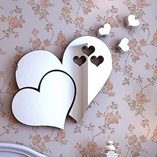 Deliu 3D Spiegel Love Hearts Wandaufkleber Aufkleber DIY Wandaufkleber für Wohnzimmer Silber