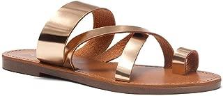 Herstyle Donnoddi Women's Slip On Flip Flops Gladiator Shoes Open Toe Loop Flat Sandals