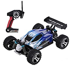 1/18 Scale Car: The 1/18 scale remote control truck is suitable for indoor and outdoor control, which offers flexible and stable driving experience; Function: forward/backward, turn left/right and acceleration. 2.4GHz Radio System: 2.4GHz supports se...
