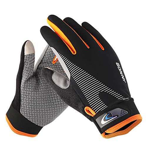 Workout Gloves, Touch Screen Gloves, Full Finger Gloves for Men Women Texting, Cycling, Driving, Running in Summer Gym Gloves for Weight Lifting, Training, Fitness, Exercise (L)
