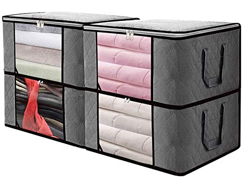 SGHUO Foldable Storage Bag, Set of 4 Large Capacity Clothes Organizers with Clear Window, Sturdy Zipper and Reinforced Handle for Comforters, Clothes, Blankets, Bedding (Grey84L)