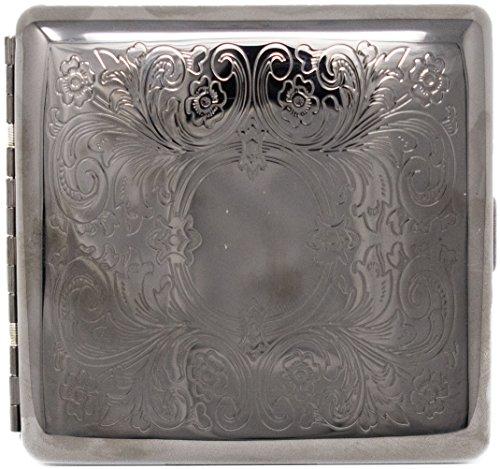 Black Victorian Scroll (Full Pack Kings) Metal-Plated Cigarette Case & Stash Box